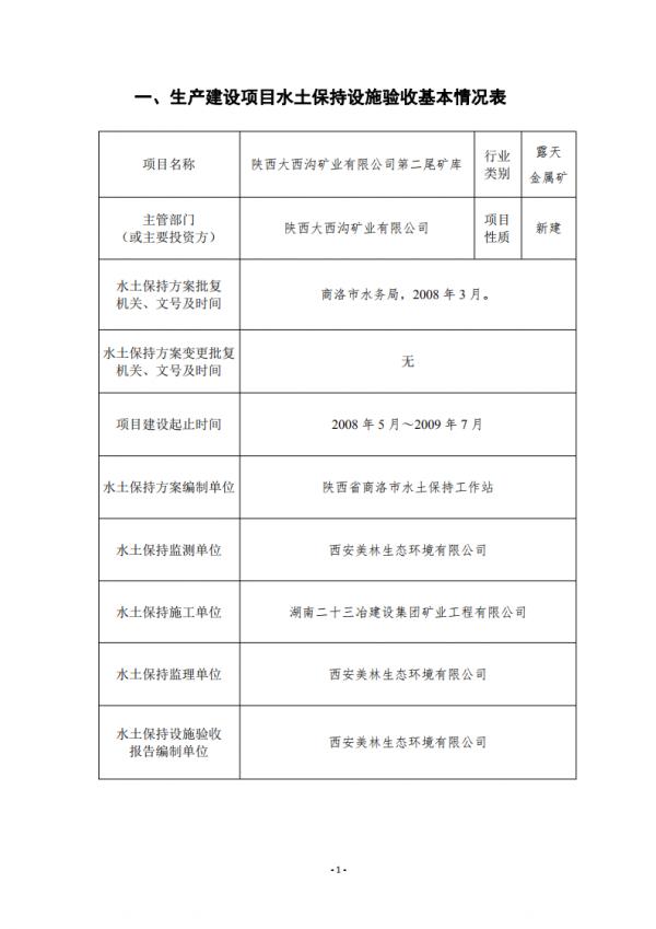 陕西大西沟矿业有限公司第二尾矿库水土保持设施自主验收公示